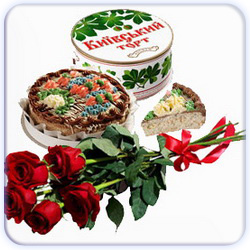 Kiev Cake And Small Bouquet of Roses - 5 Stems