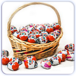 Thirty Kinder Surprise Eggs Basket